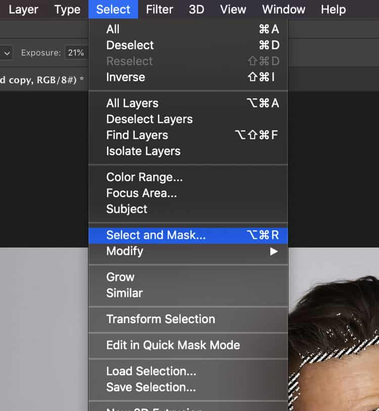 Find the refine edge in photoshop 2019