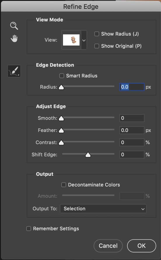Refine edge tools in photoshop 2019