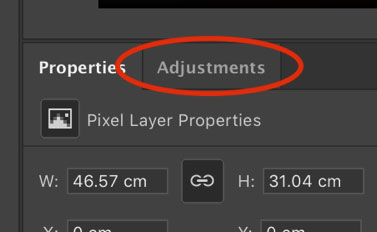 Adjustements layer section Photoshop