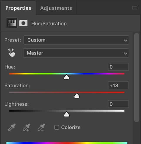 Hue and Saturation ajustements tools Photoshop cc 2019