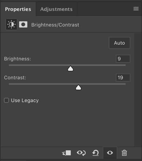 Brightness and Contrast ajustement tool window photoshop