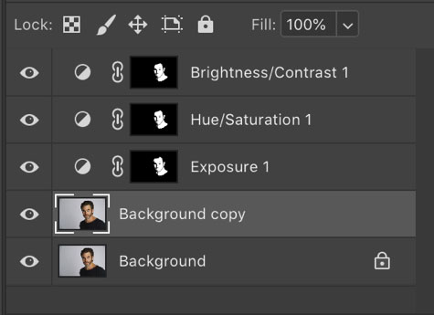 select the background copy layer in Photoshop