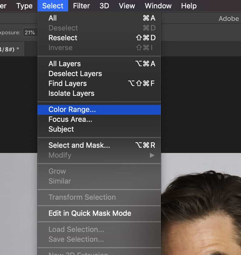 Photoshop select a color range tool