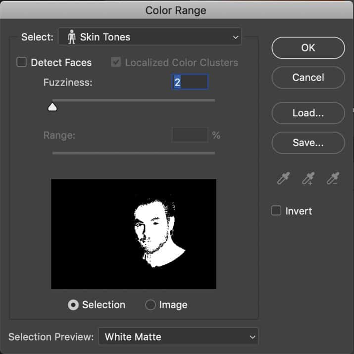 Photoshop select color range with skin tones option
