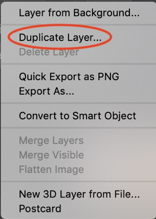 Duplicate Layer option Photoshop