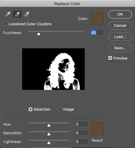 Photoshop Replace Color window