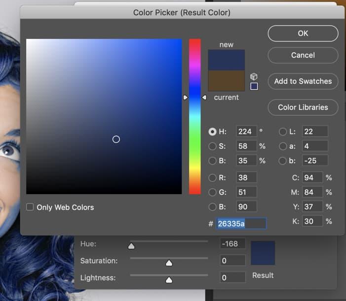 Photoshop Result Color box blue