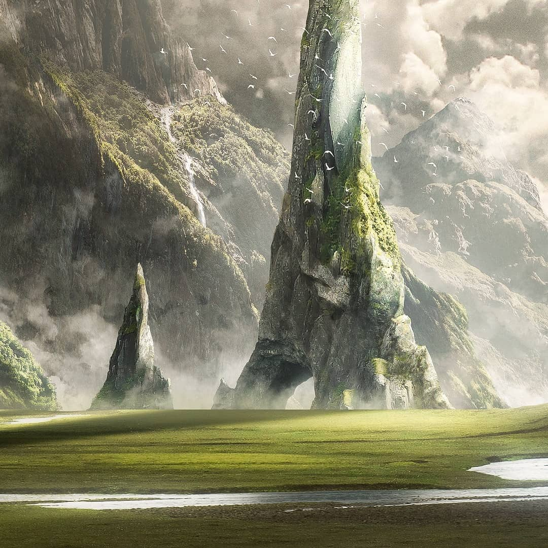 Big mountains matte painting scene