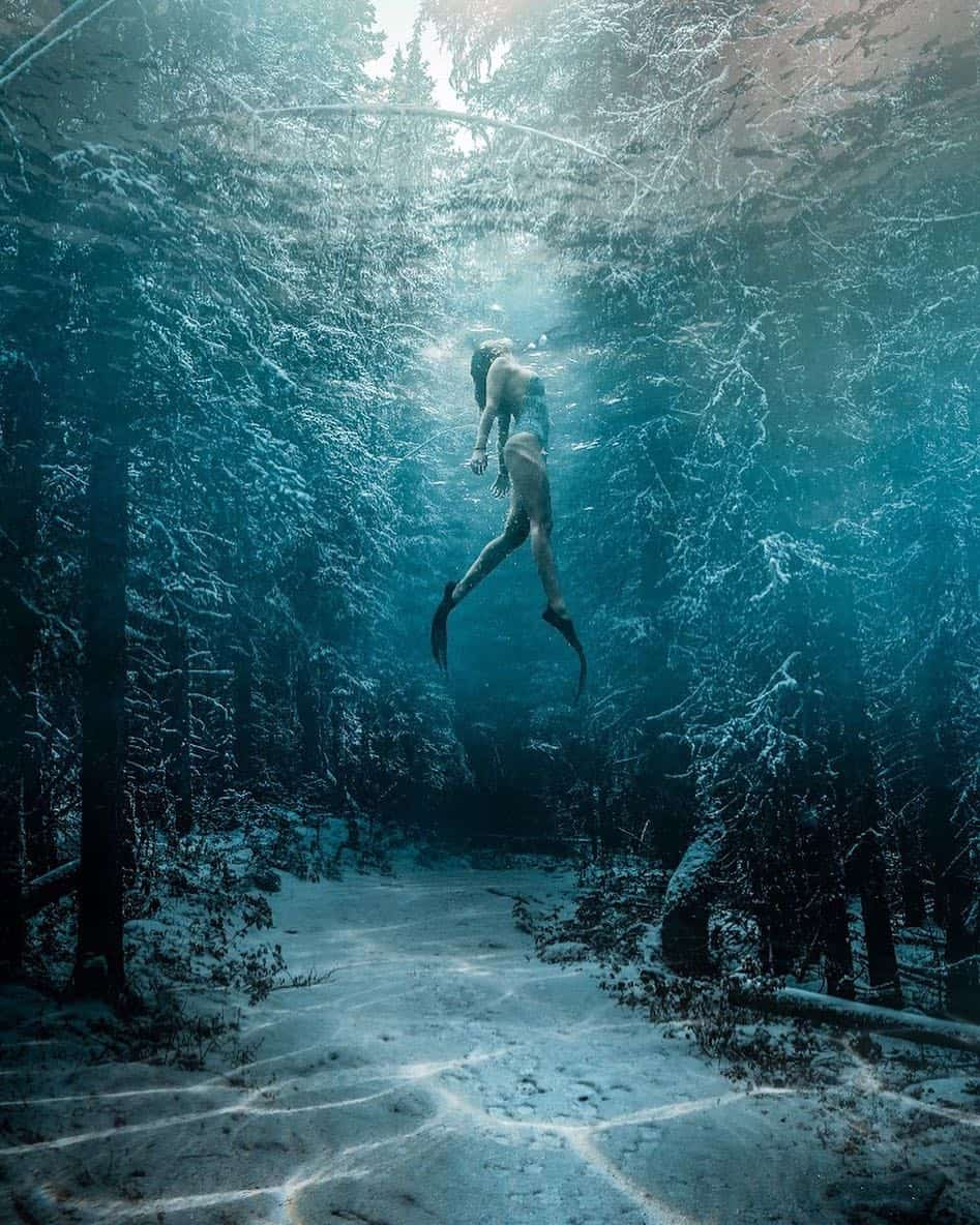 Swimming girl underwater forest