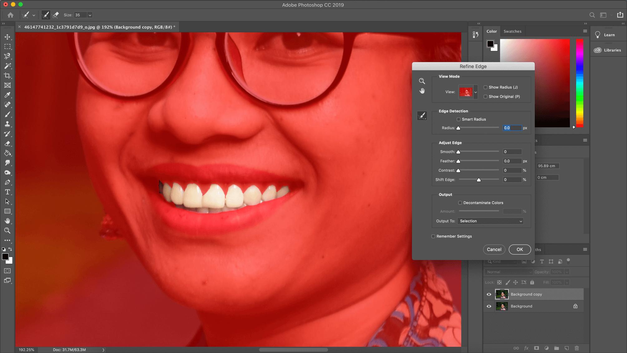 Refine edge Photoshop tool
