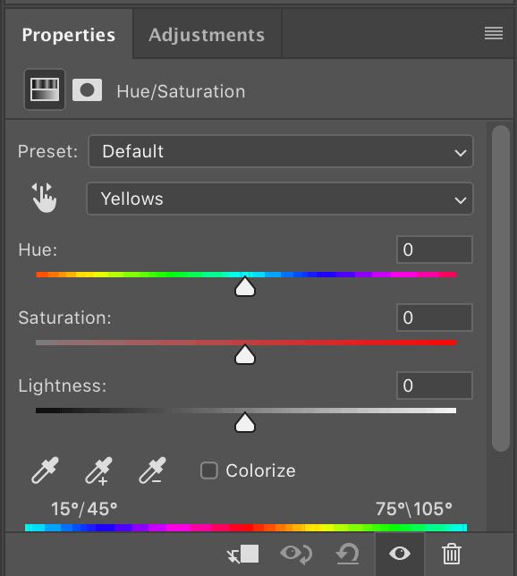 Photoshop hue and saturation panel