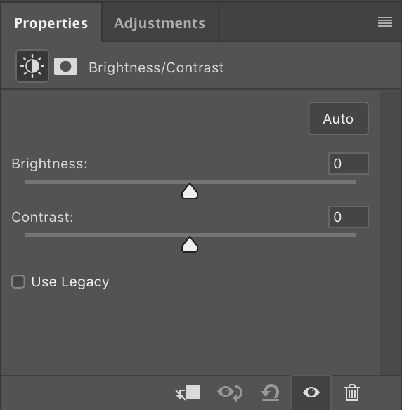 Brightness and Contrast setting panel photoshop