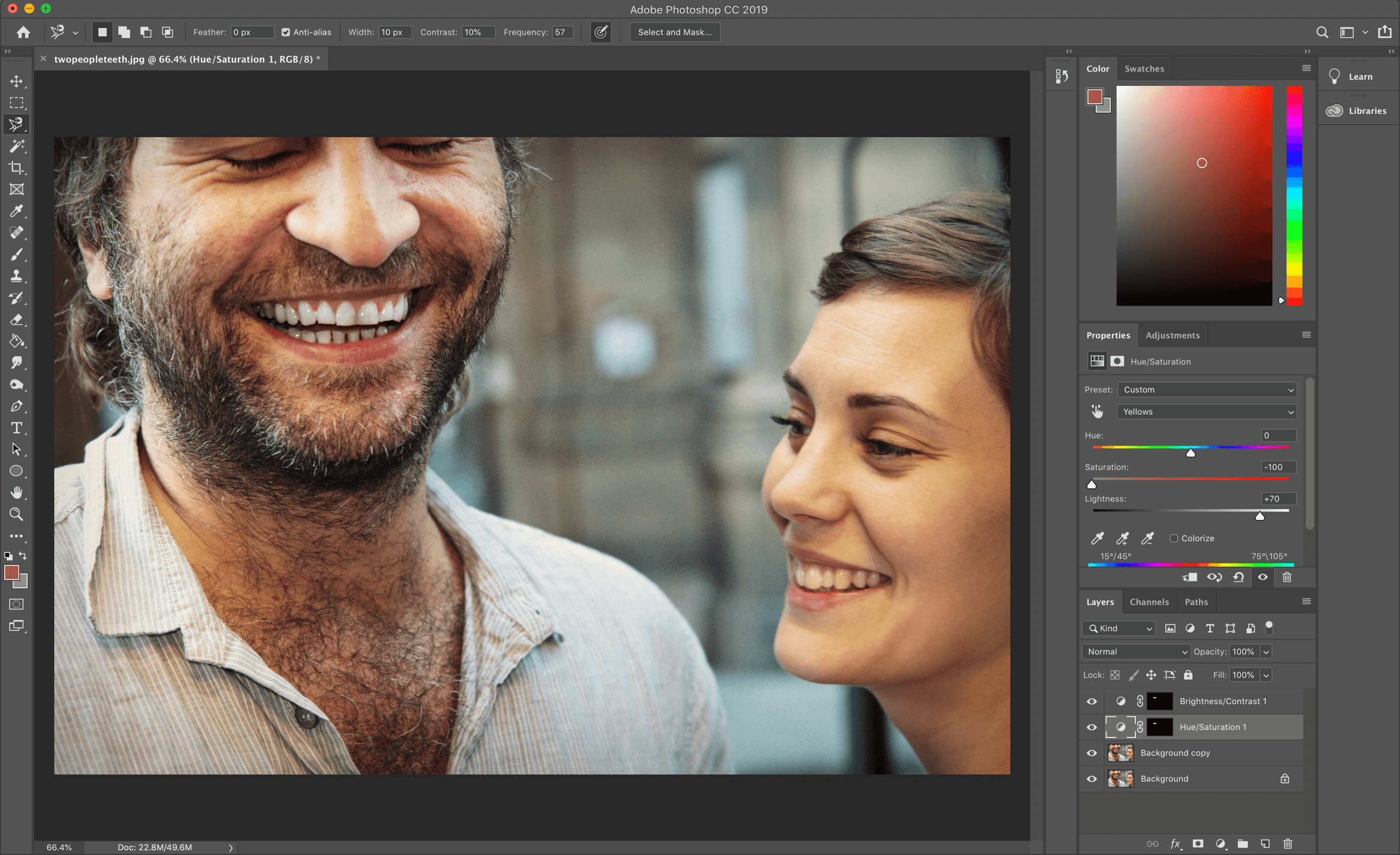 two people smiling in Photoshop