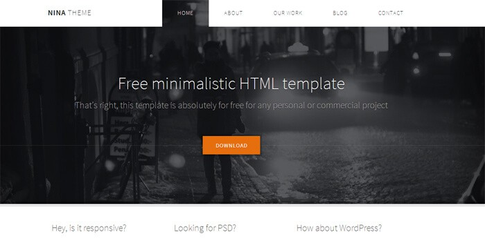 Nina free html5 template to download