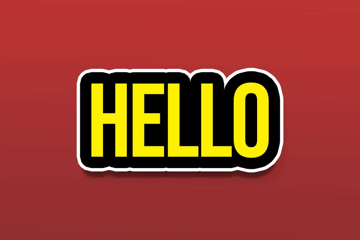 hello text on red background