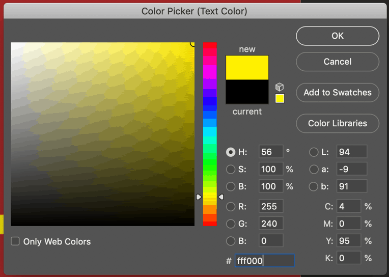 text color picker tool photoshop