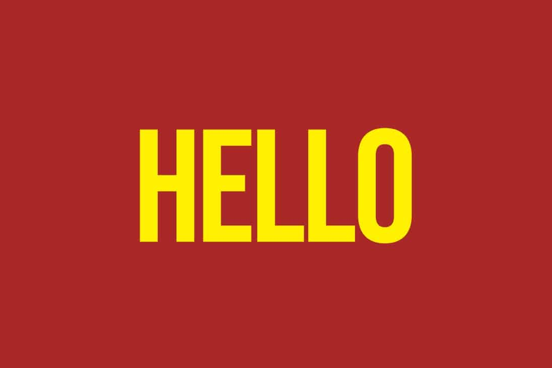 hellow in yellow on red background