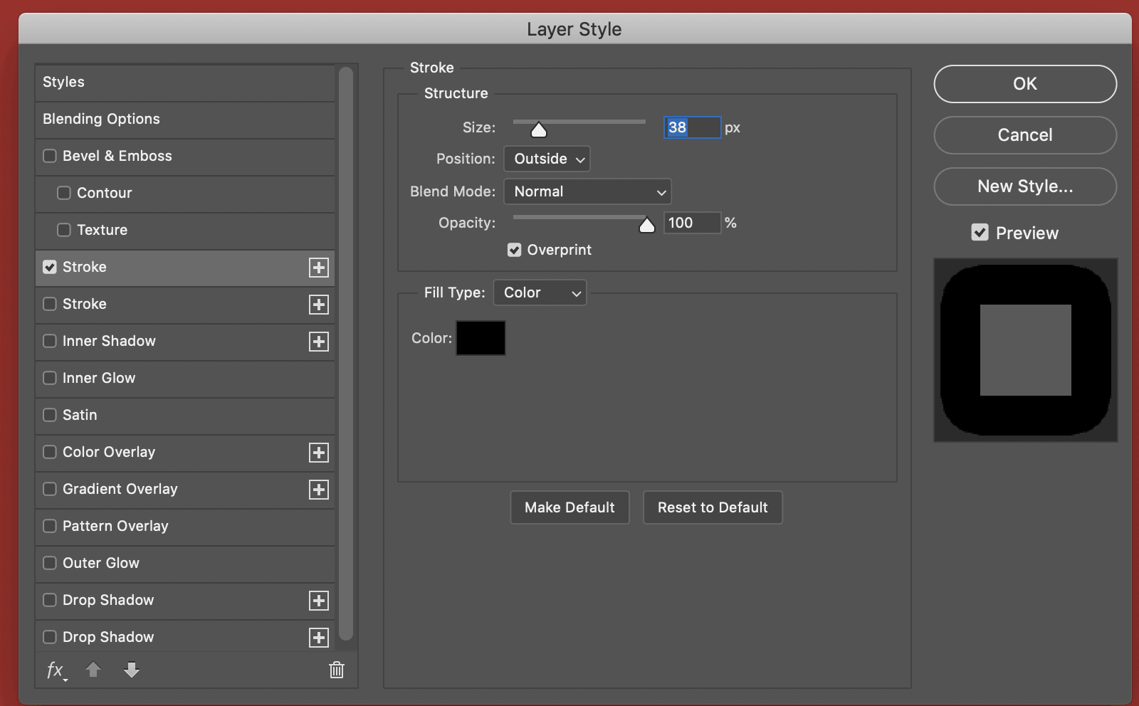 layer style window photoshop