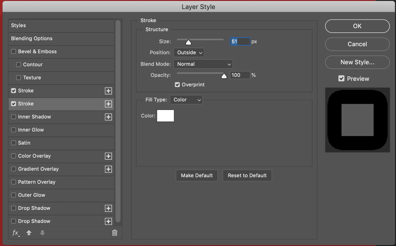 layer style option window photoshop