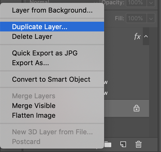 duplicate layer option photoshop