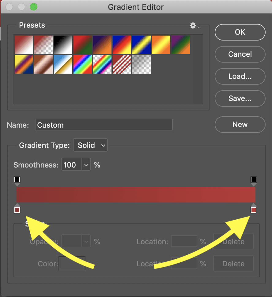 gradient editor window photoshop