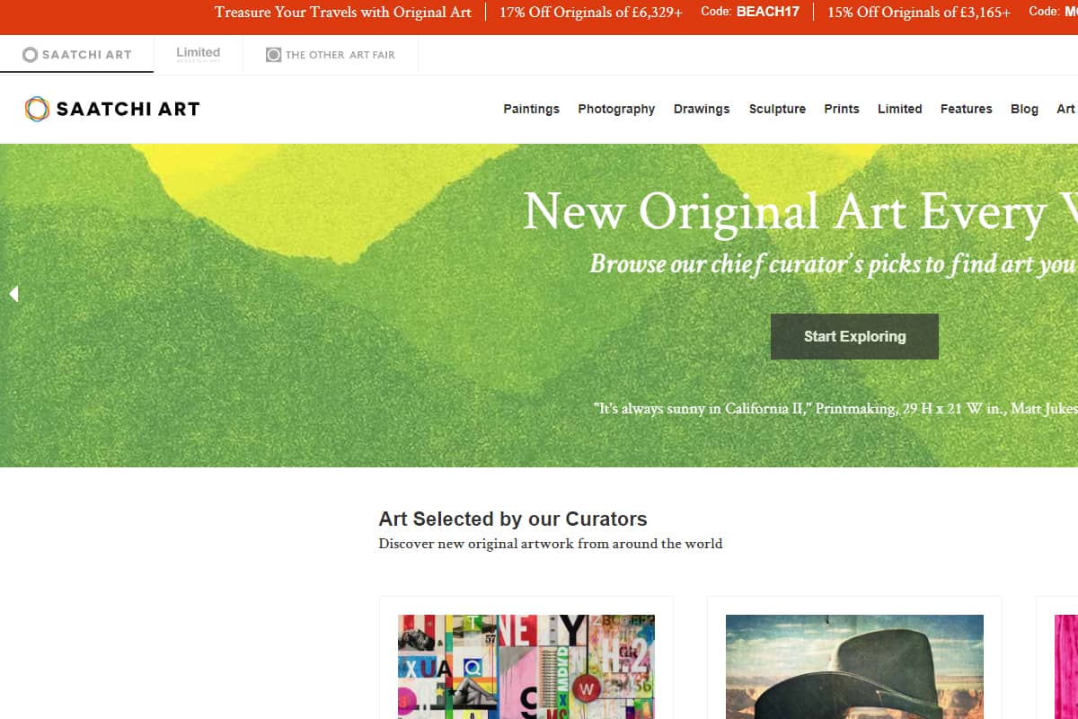 saatchi art homepage screenshot