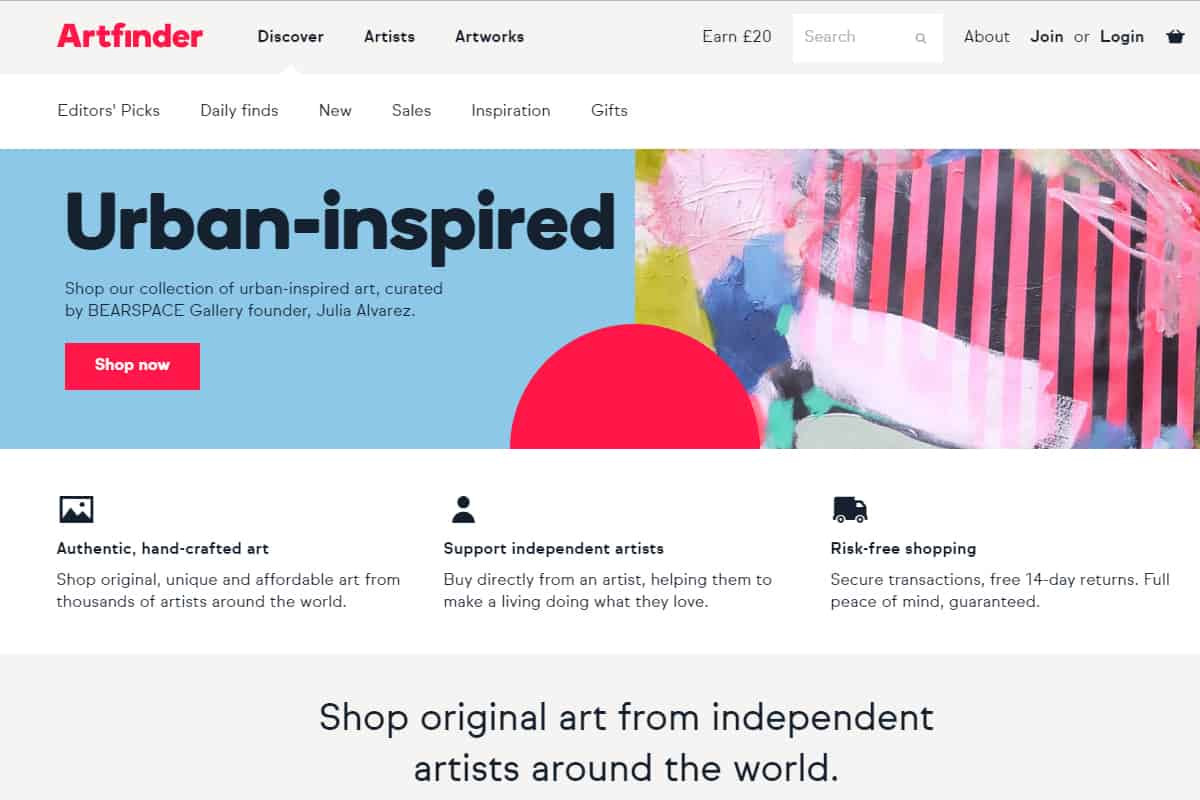 artfinder homepage screenshot