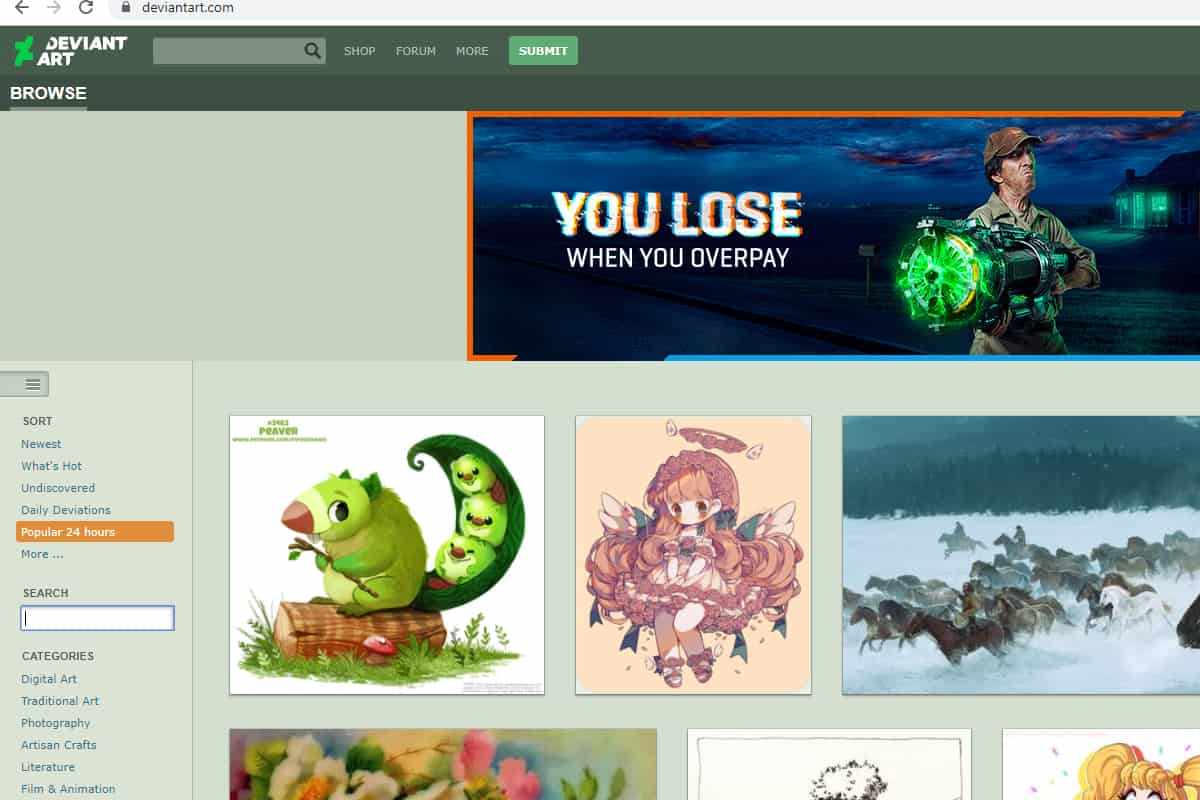 deviantart homepage screenshot