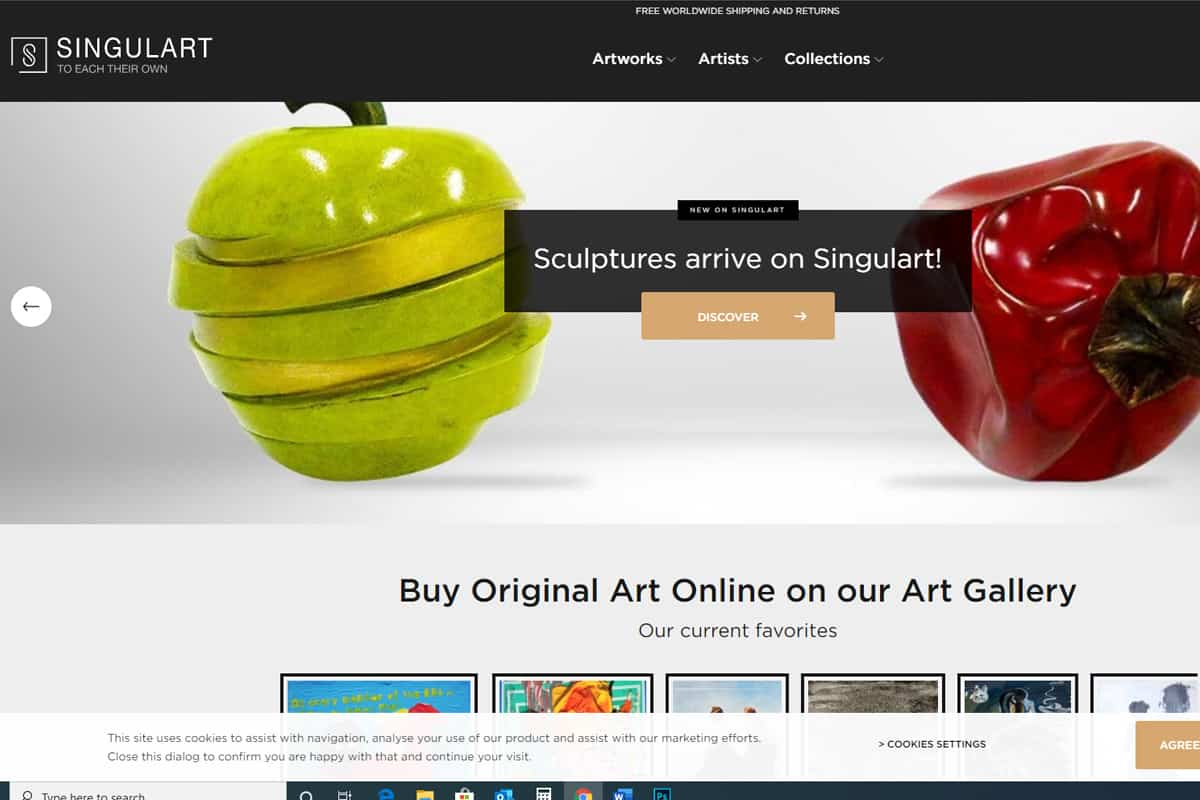 Singulart homepage screenshot