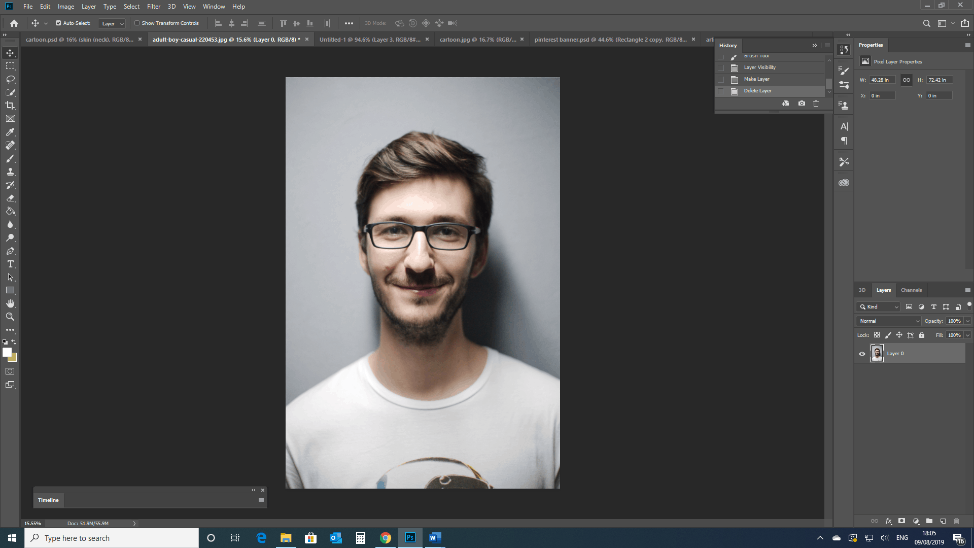 Young man portrait in photoshop