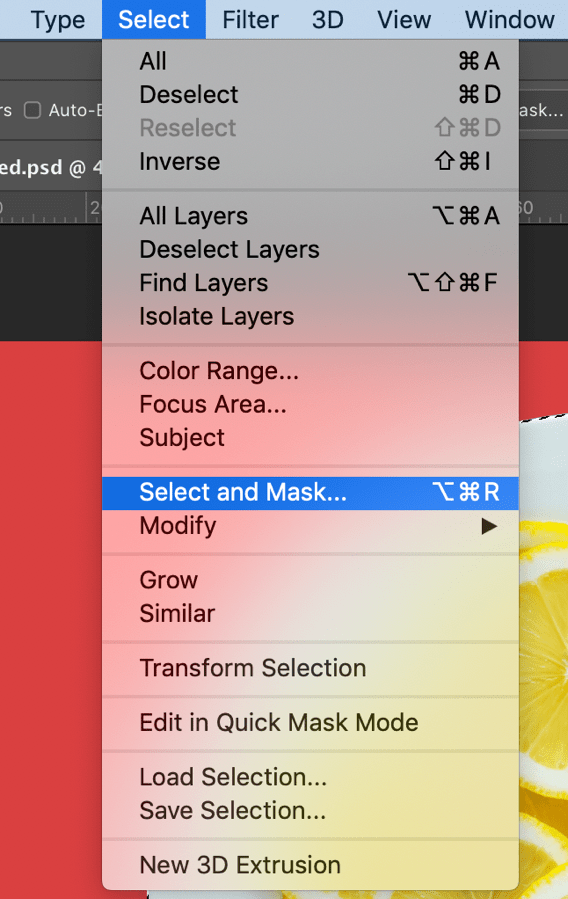 select and mask photoshop menu