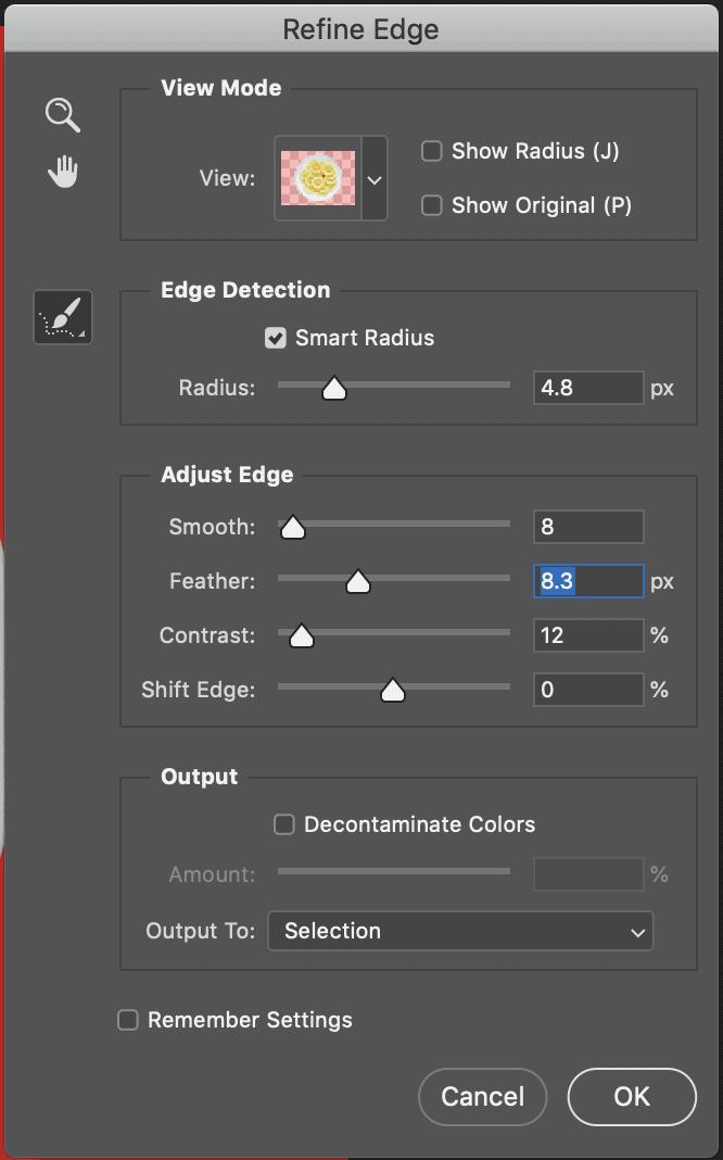 select and mask photoshop option panel