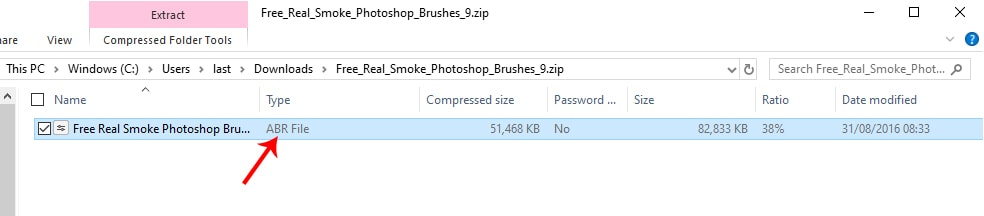 photoshop brush files in windows explorer