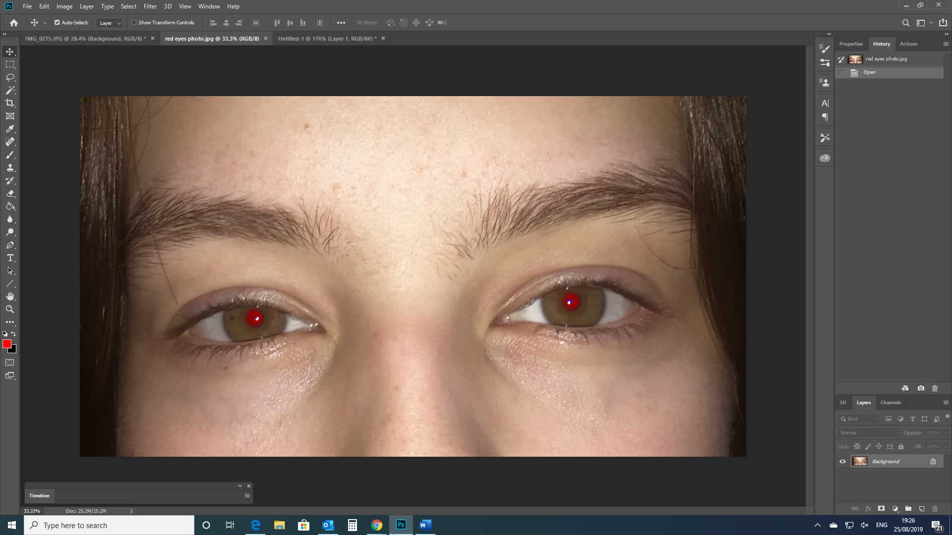 red eyes photograph open in photoshop