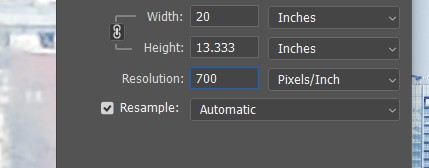 change resolution of an image with photoshop