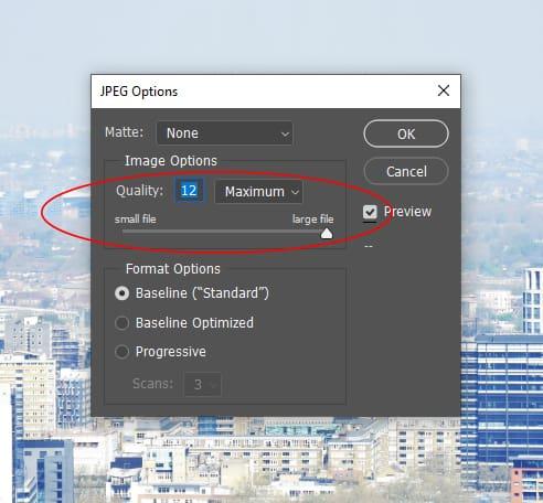 jpeg options saving menu photoshop