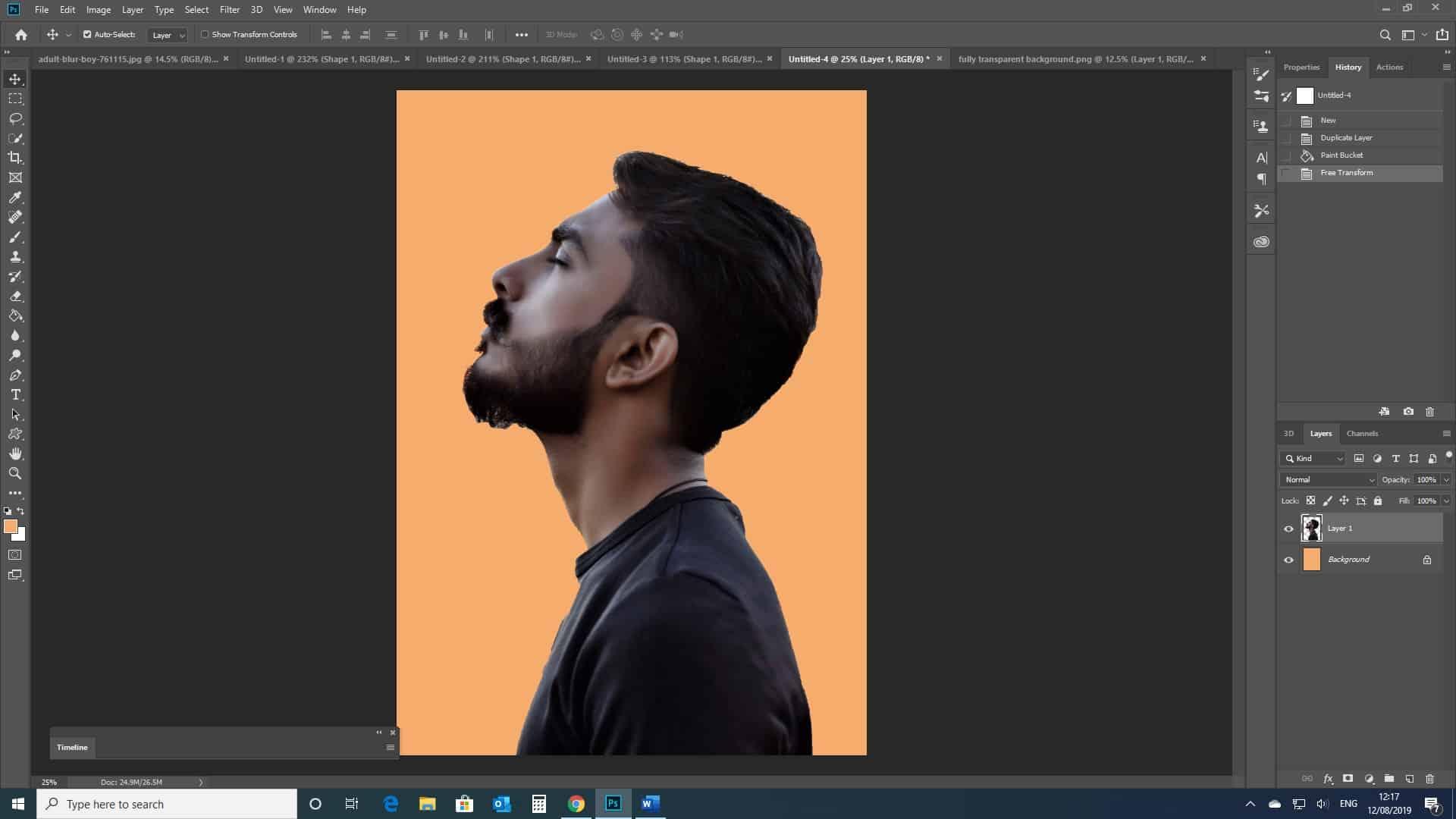 man portrait with orange background