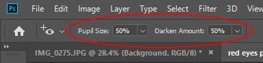 red-eye options panel photoshop
