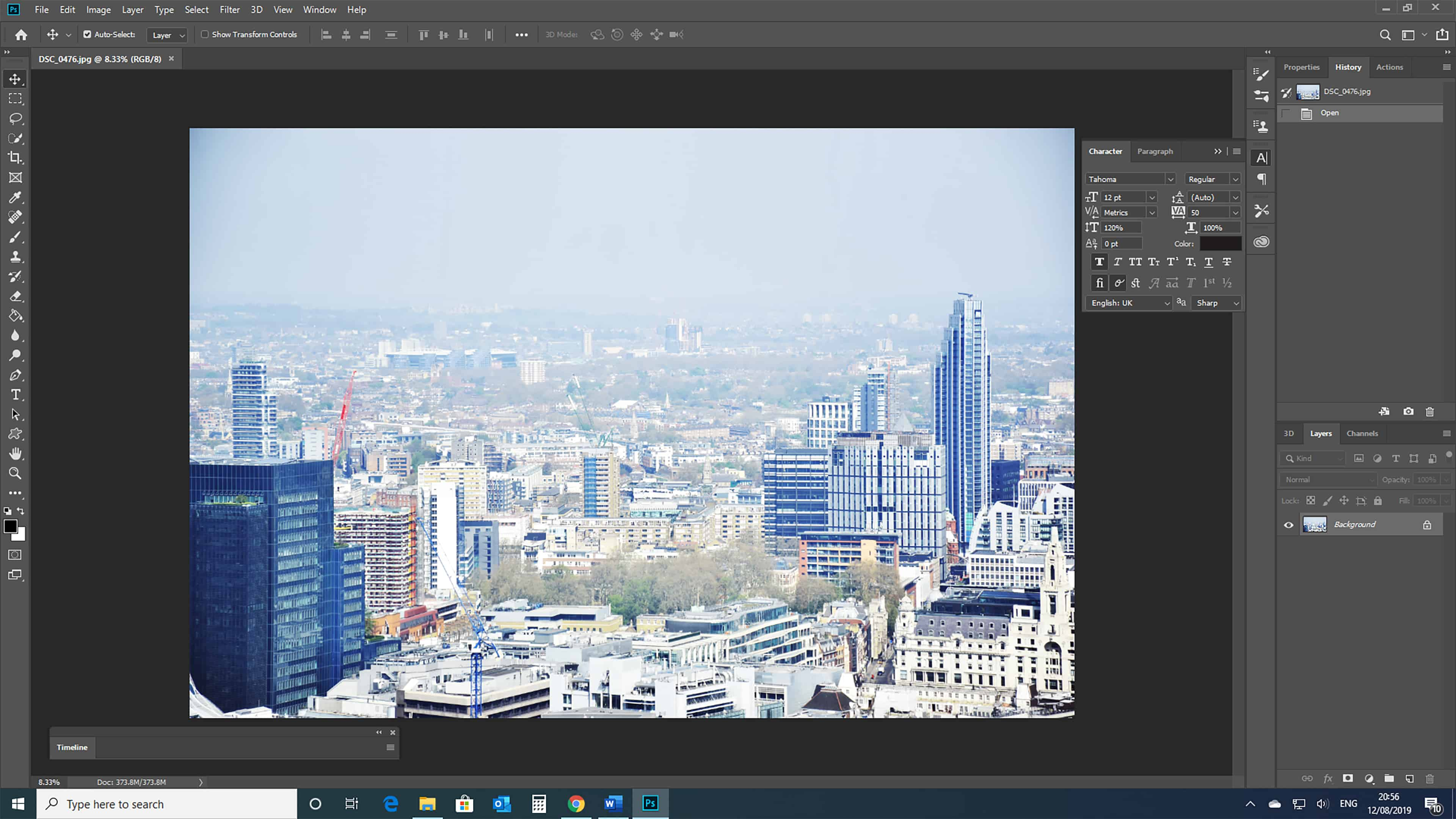 City picture open in Photoshop