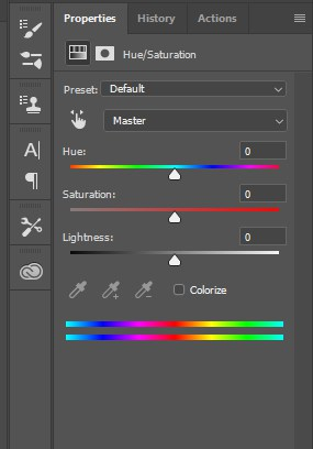 hue and saturation option panel photoshop