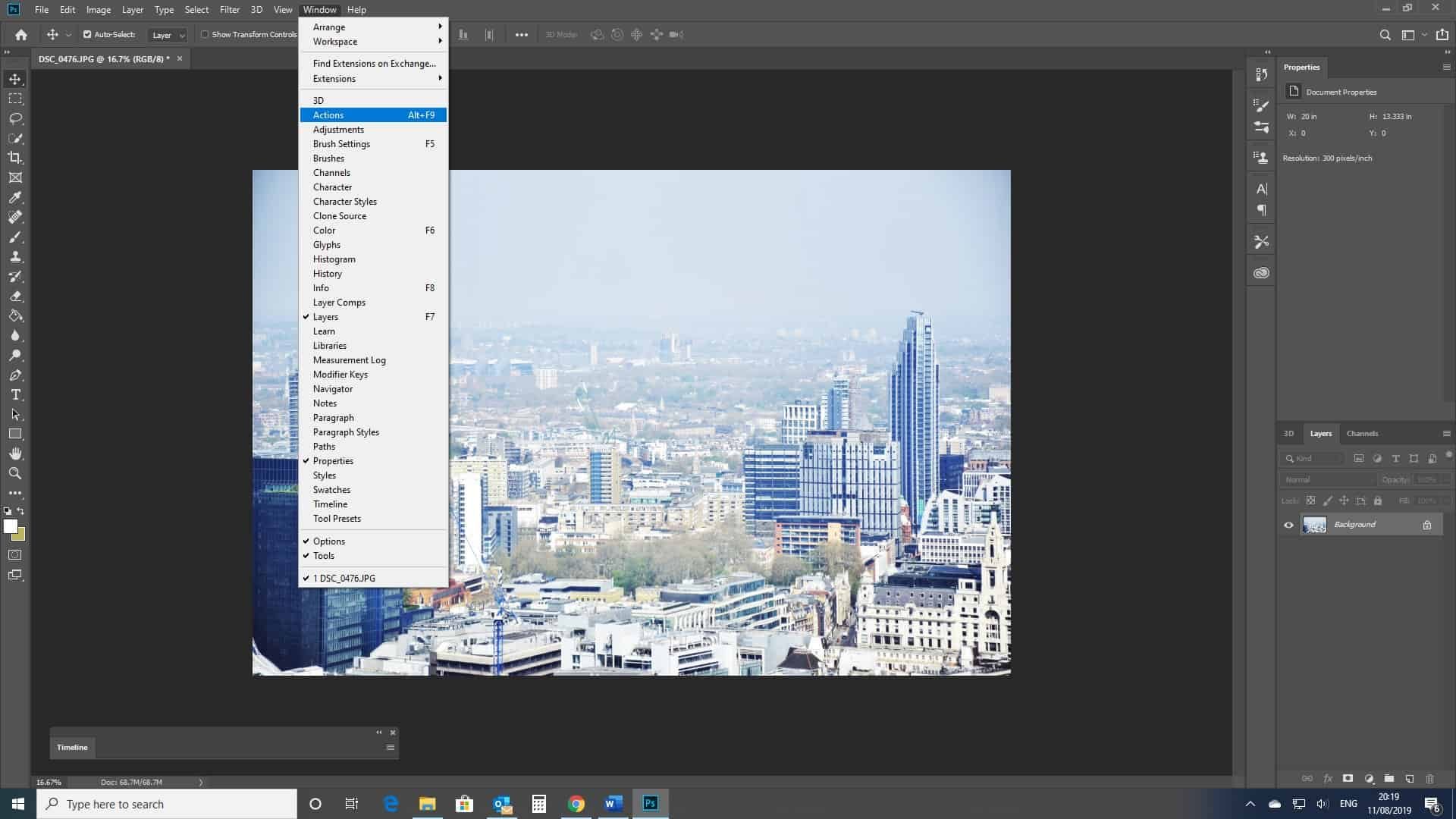 Photoshop actions window open