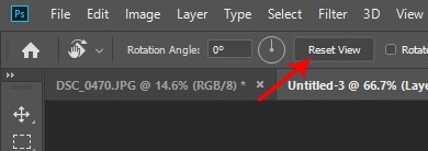 Resetting the Rotation of the View photoshop