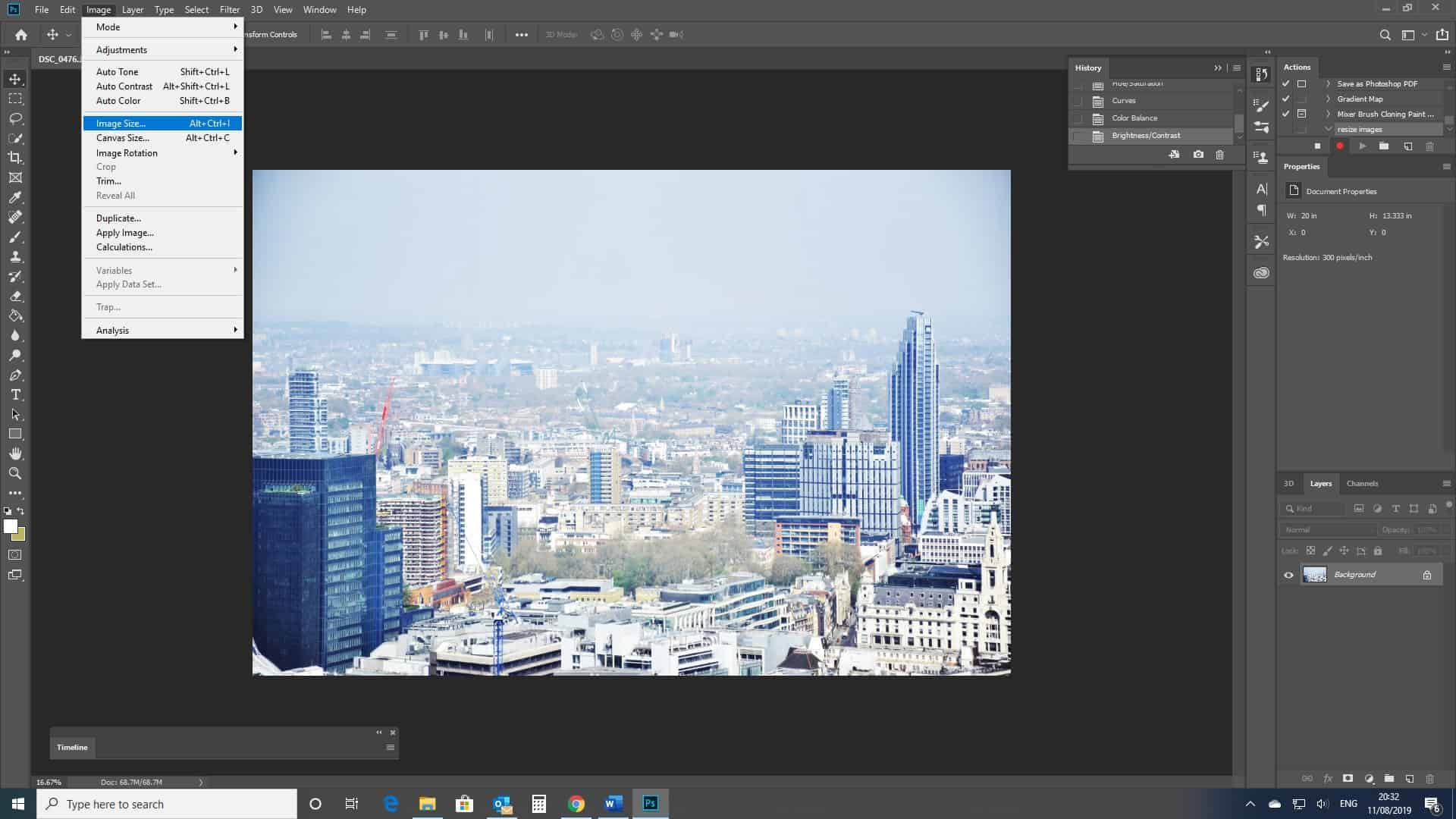 image size photoshop menu