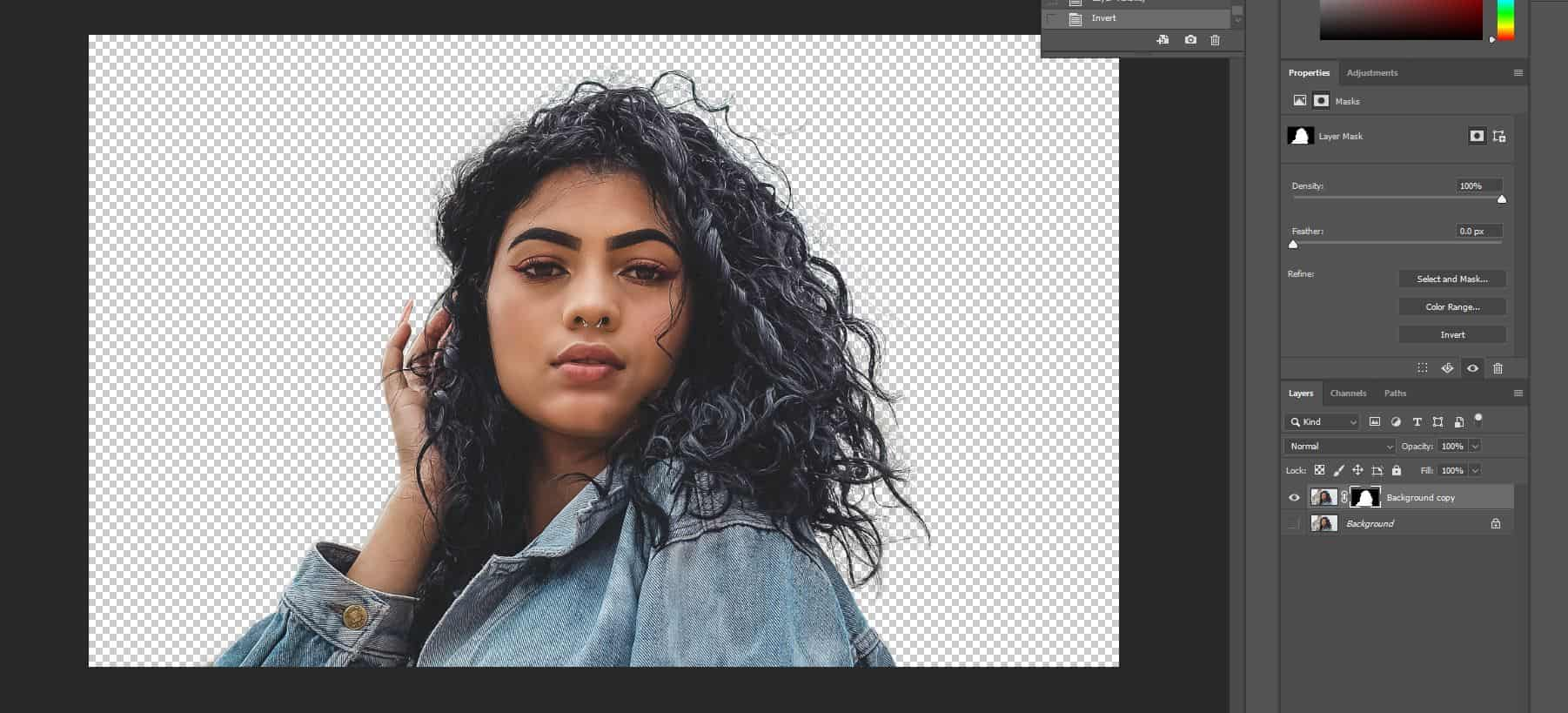 complex background hair selection photoshop