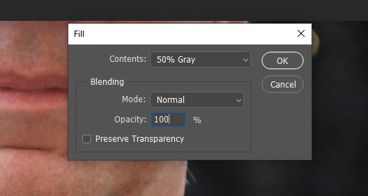 50% grey fill photoshop