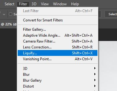 liquify tool menu photoshop
