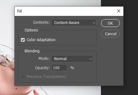 fill selection photoshop panel option