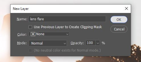 create a new layer option window photoshop