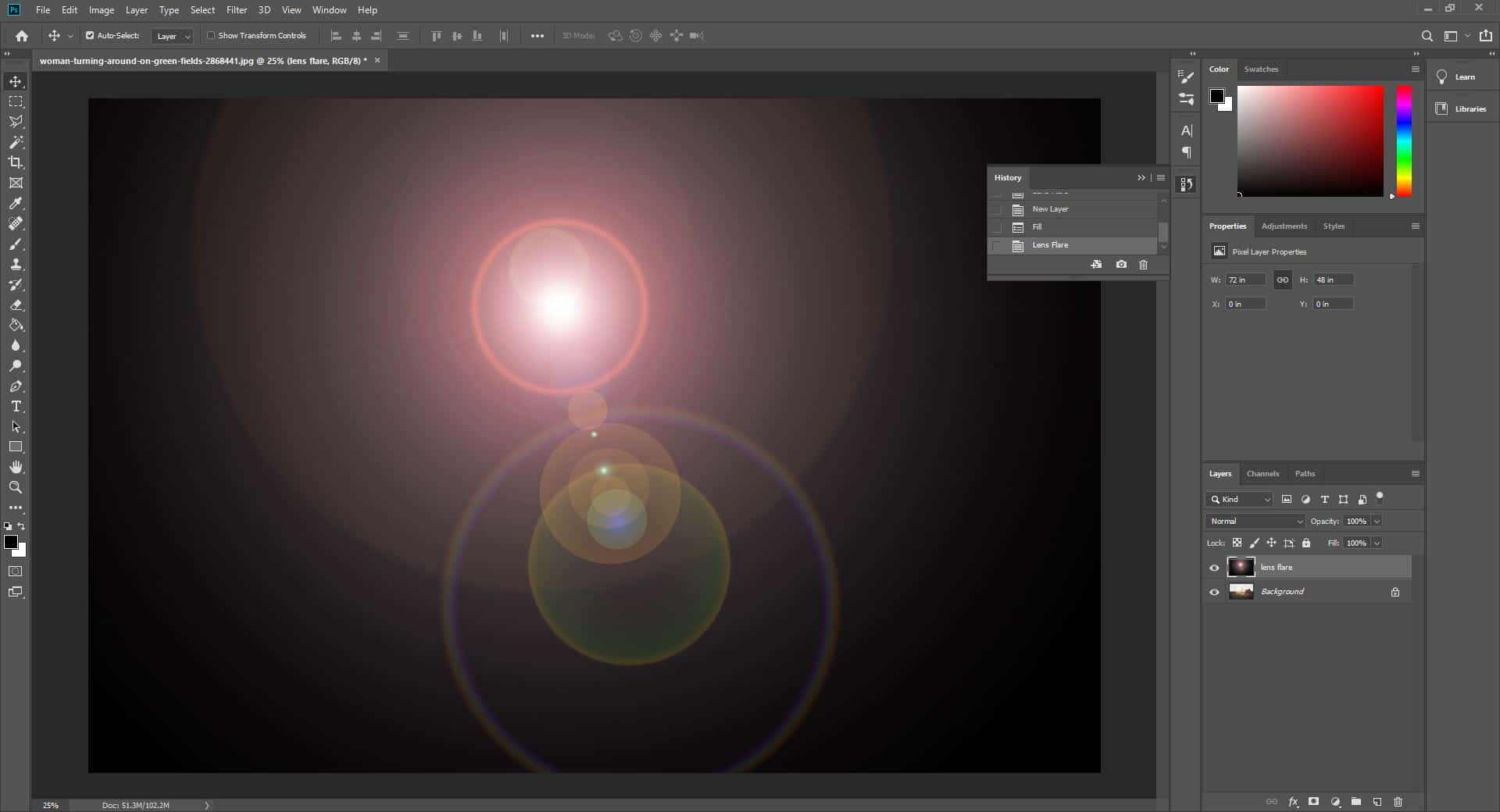 flare on dark background photoshop