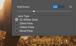 lens flare option panel photoshop